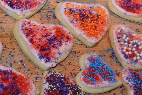 Cookie Hearts with Sprinkles